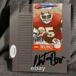 Christien Okoye Signé Kansas City Chiefs Nes Super Tecmo Bowl Jsa Coa Nintendo