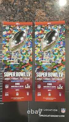 Deux Stubs Super Bowl LV 55 Kansas City Chiefs Tampa Bay Buccaneers 2/7/21