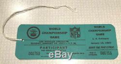 Inutilisés Super Bowl I Packers Passe Des Participants Vs Chiefs Excellent État