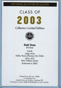 Kansas City Chef Hank Stram Autographe Signé Goal Line Art Card Super Bowl