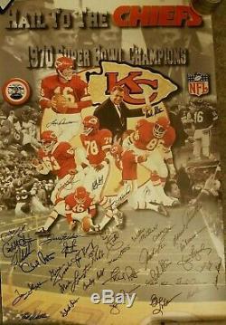 Kansas City Chiefs 50 Ans 1970 Super Bowl Équipe Signé Adn Litho Le Psa