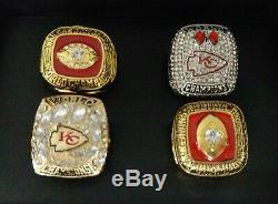 Kansas City Chiefs Championship 4 Anneau Avec Boîte En Bois. Mahomes Dawson