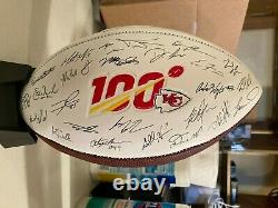 Kansas City Chiefs NFL Team Roster Signature Superbowl LIV 54 Ball With Stand