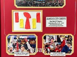 Kansas City Chiefs Super Bowl 54 LIV Jeu Utilisé Confetti Photo Encadrée Mahomes Coa