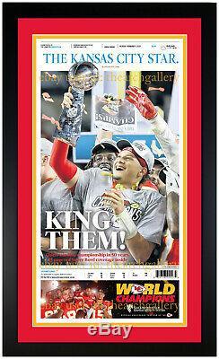 Kansas City Chiefs Super Bowl & Afc Champions Framed Originale Newspaper Set