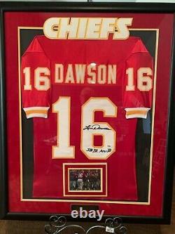 Len Dawson Chiefs Framed 35x44 Autographed Superbowl IV Mvp Jersey Coa De Psa