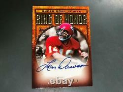 Len Dawson Topps Super Bowl Mvp IV Anneau D'honneur Autographe Chefs