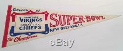 Minnesota Vikings / Kansas City Chiefs Super Bowl 4 Pennant Rare Style