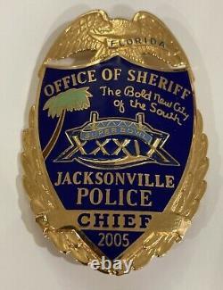 Obsolète Jacksonville, Floride Chef De La Police Super Bowl Badge Hallmark Blackinton