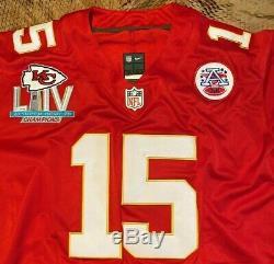 Patrick Mahomes # 15 Chefs Kc Red Super Bowl 54 Jersey Grande