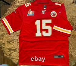 Patrick Mahomes #15 Kansas City Chiefs Red Super Bowl 54 Jersey 2xl