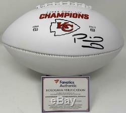 Patrick Mahomes Chefs Autographiés Panneau Blanc Super Bowl LIV Football Fanatics