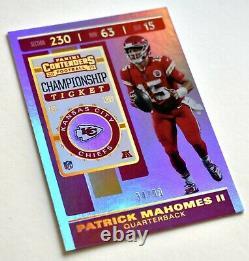 Patrick Mahomes II 2019 Contenders / 99 Championnat Chiefs Billets Super Bowl LIV