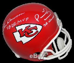 Patrick Mahomes & Len Dawson Signed Chiefs De Kansas City Super Bowl Mvp Casque Jsa