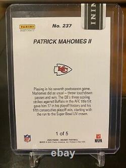 Patrick Mahomes Super Bowl LIV Afc Champions Chiefs Panini Instant Green # 1/5