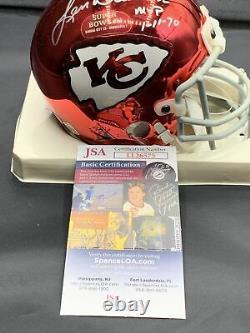 Rare! Len Dawson Signé Chrome Super Bowl Mini Helmet Kansas City Chiefs Jsa