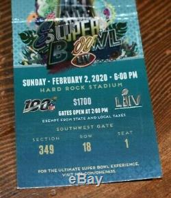 Rare Super Bowl LIV Billet Porte-confettis, Kansas City Chiefs Patrick Mahomes