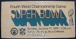 Super Bowl IV 4 Game Day Ticket 1/11/1970 Kc Chefs Vs Minnesota Vikings