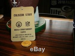 Super Bowl I 1 Packers Vs Chiefs 15/01/67 Coliseum Ticket Stub Badge Personnel Gold