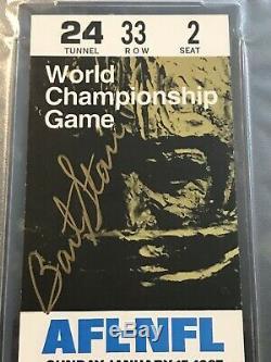 Super Bowl I Ticket Bart Starr Auto Autograph Mvp Packers V Chefs Psa / Adn Preuve