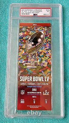 Super Bowl LV Full Ticket Psa 9 Mint Red Var Tampa Bay Bucs Kc Chiefs NFL