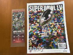 Tacket Stub Super Bowl LV 55 Kansas City Chiefs / Tampa Bay Buccaneers 2/7/2021