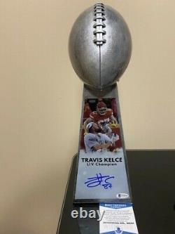 Travis Kelce A Signé Réplique Trophy-bechan Trophy-beckett Coa Chiefs