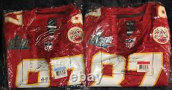 Travis Kelce Chiefs Super Bowl 54 LIV Patch Game Jersey Red White M, L, 2x