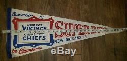 Vintage 1970 De Super Bowl Chiefs Vs. Vikings Pennant