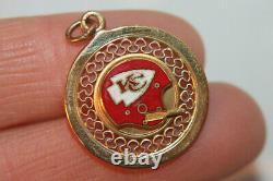 Vintage Solid 14k Or Jaune Kansas City Chiefs 1970 Super Bowl Charm Wells